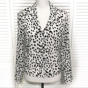 Topshop Black and White Spot Button Down Shirt